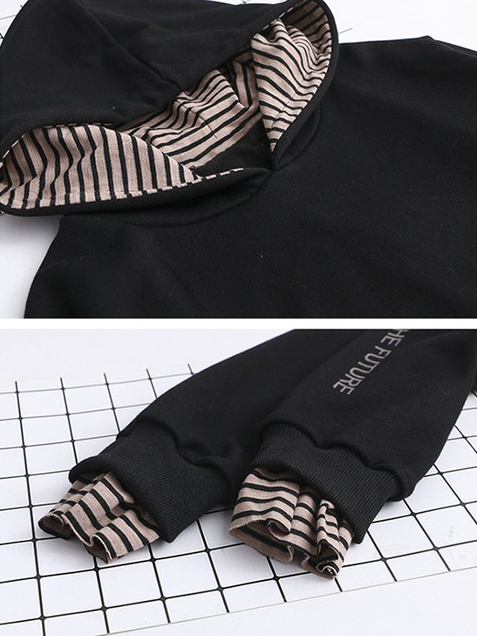 Hoodie Long Sleeve Striped Shirts & Tops