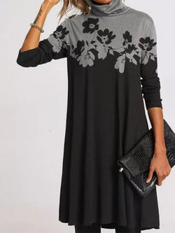 Turtleneck Long Sleeve Floral Dresses
