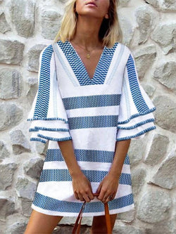 Blue Stripes V Neck 3/4 Sleeve Dresses