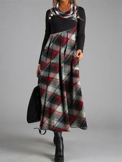 Fashion Plaid Cowl Neck Casual Dress