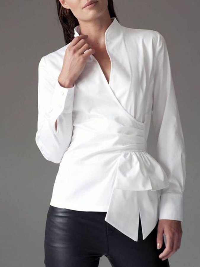 Gathered Solid Surplice Neck Shirts & Tops