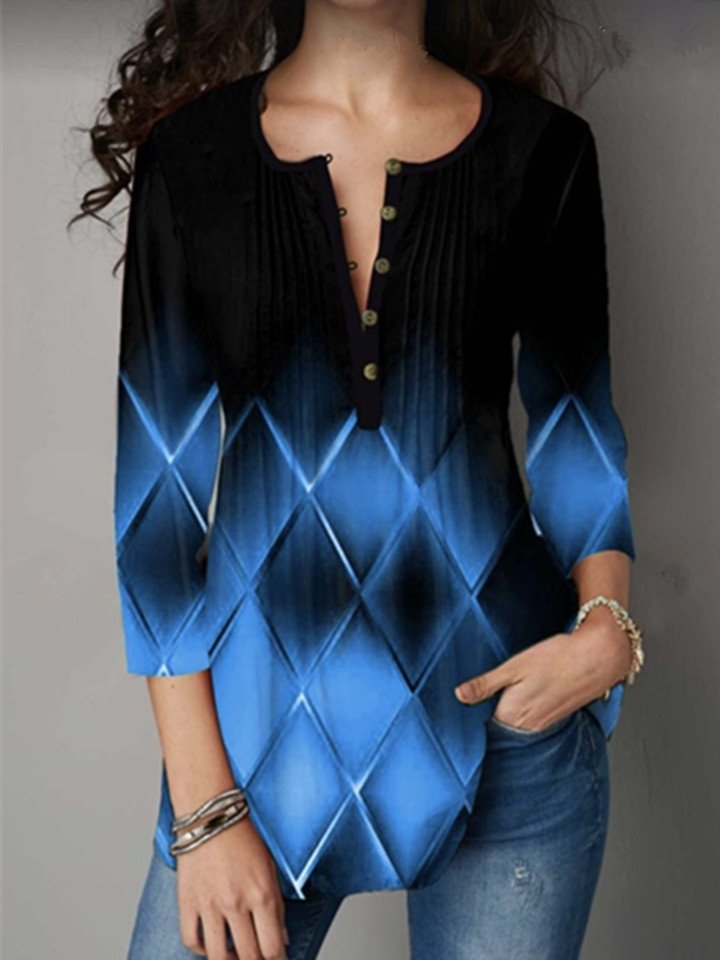 Plaid Print Gradient Color Button Half Open Collar T-Shirt