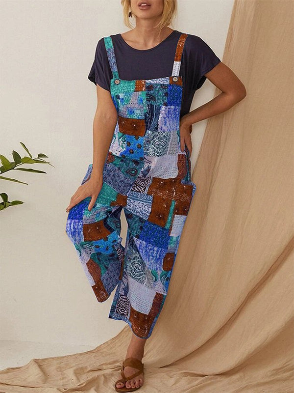 Bohemian Print Straps Plus Jumpsuit with Pockets