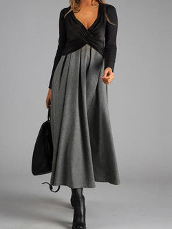 Solid V Neck Swing Long Sleeve Dresses