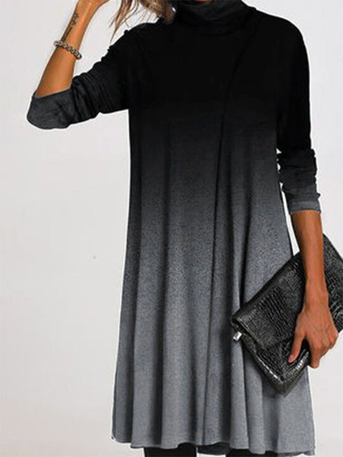 Spring Autumn Warm Long-sleeved Solid Color Casual Dress