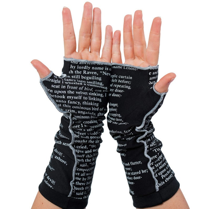 Black Letter Printed Casual Gloves
