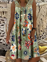 Floral Floral Printed Sleeveless Lace Shift Dresses
