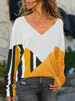 Yellow Casual Patchwork Shift Cotton T-shirts