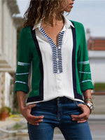 Long Sleeve Cotton Casual Color-Block T-Shirt & Blouse
