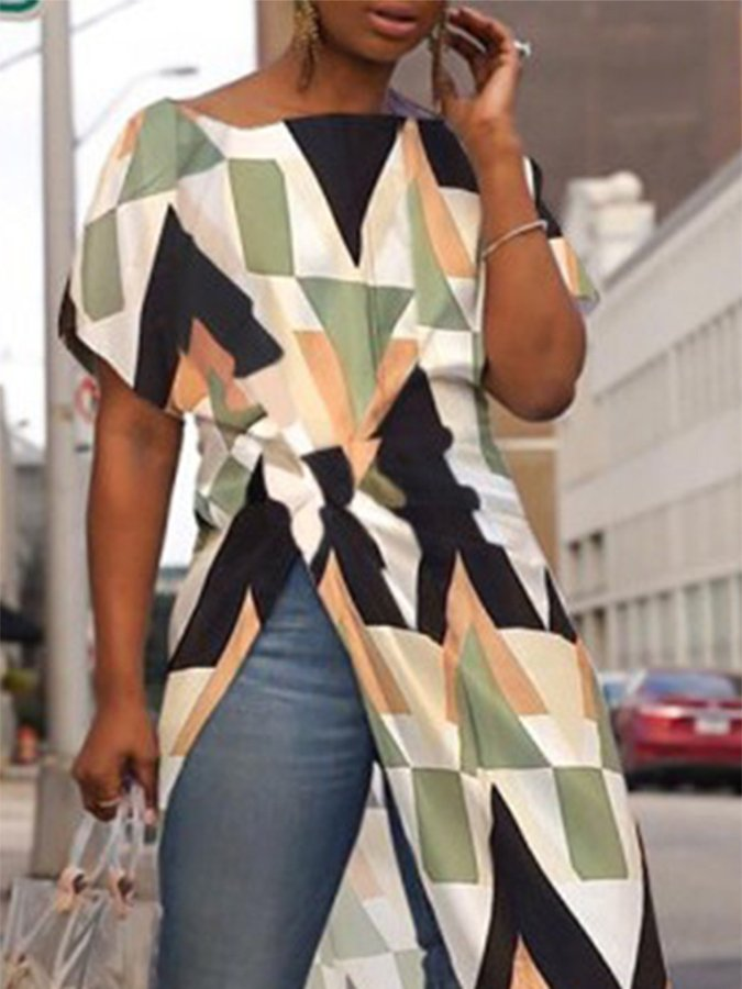 As Picture Geometric Short Sleeve Dresses