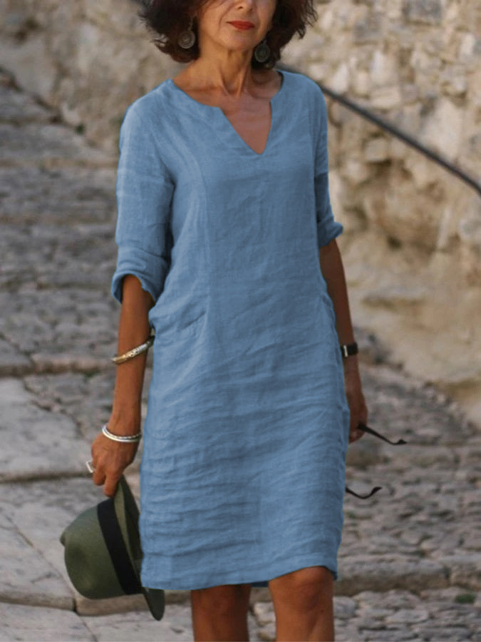Soft&Light Line Pockets Half Sleeve V Neck Holiday Dresses