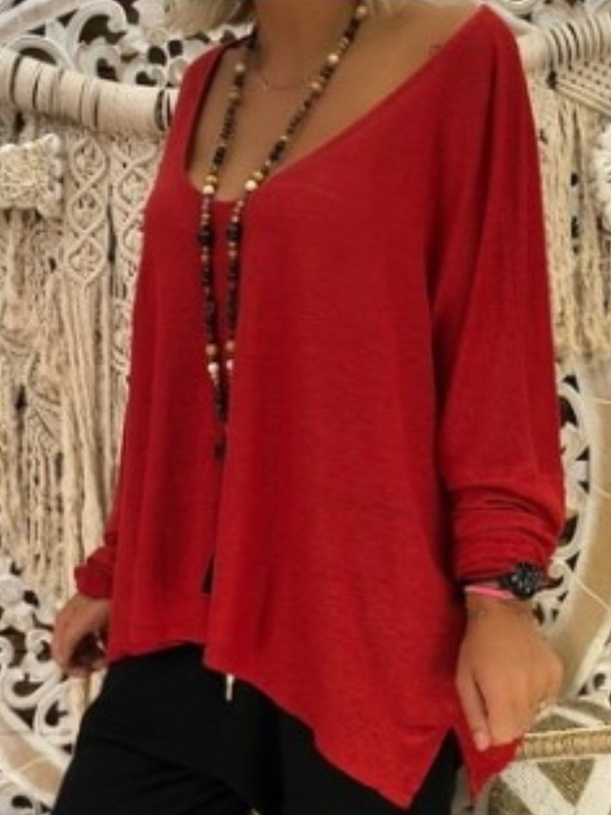 Solid Long Sleeve Outdoor T-Shirt & Blouse