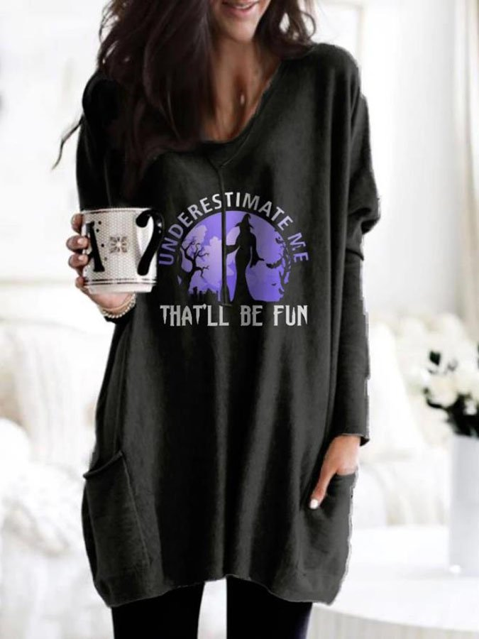Halloween Printed Crew Neck Long Sleeve Shift Dress
