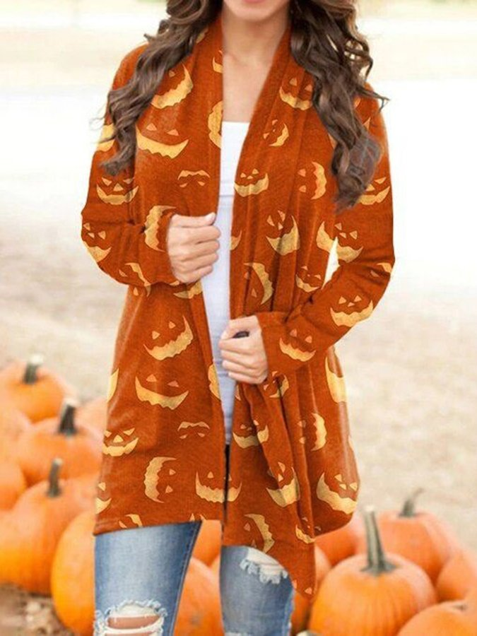 Halloween Orange Long Sleeve Graphic Outerwear