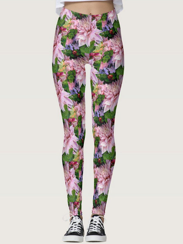 Pink Printed Casual Pants
