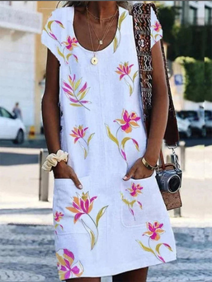 Crew Neck Printed Casual Dress