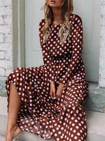 Coffee Long Sleeve Printed Holiday Dress