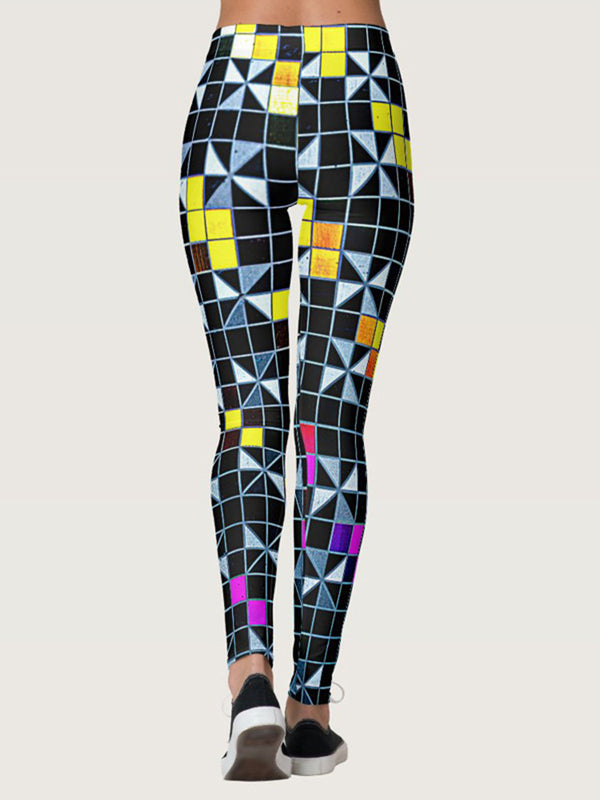Multicolor Geometric Athletic Printed Pants