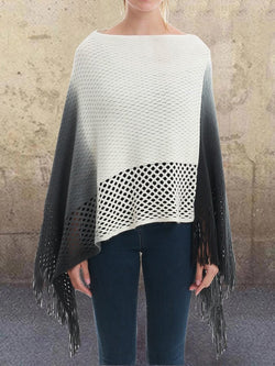 Color-Block Crew Neck Casual Knitted Cape