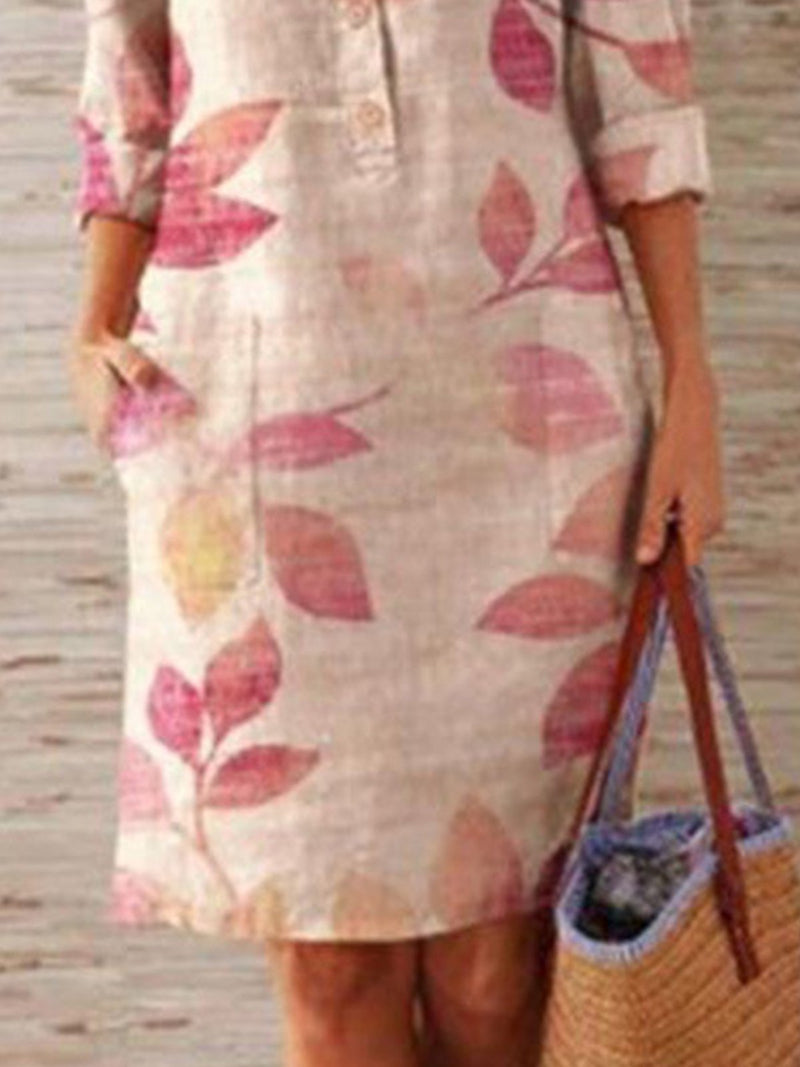 Beige Casual Printed Half Sleeve Shift Dress