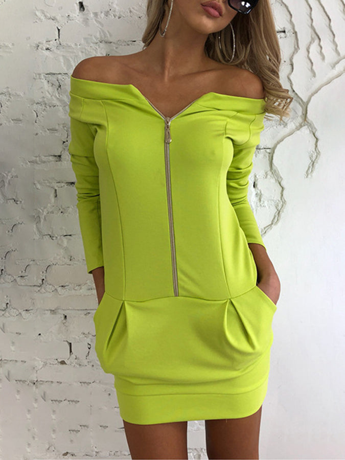 Zipper Sheath Casual Mini Dress