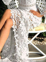 White Guipure Lace Bell Sleeve Dress