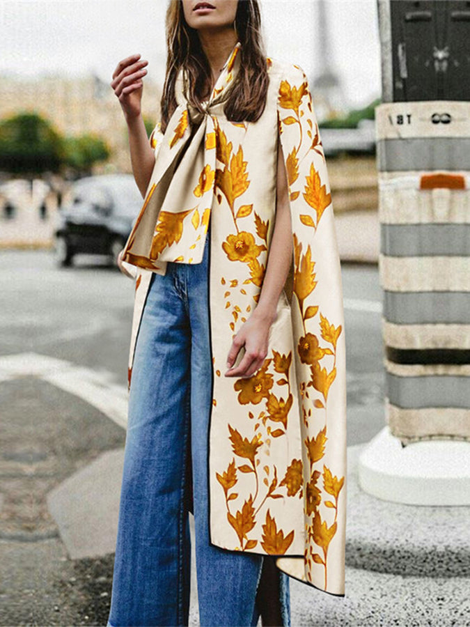 Printed Floral Tie-Neck Statement Outerwear