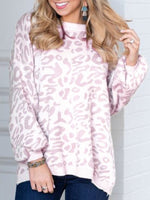Long Sleeve Leopard Print Vintage Crew Neck Sweater