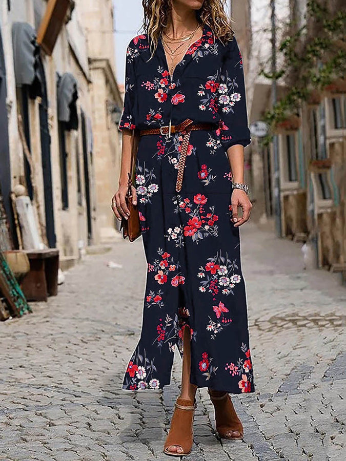 Deep Blue Shift Shirt Collar Casual Floral Dress