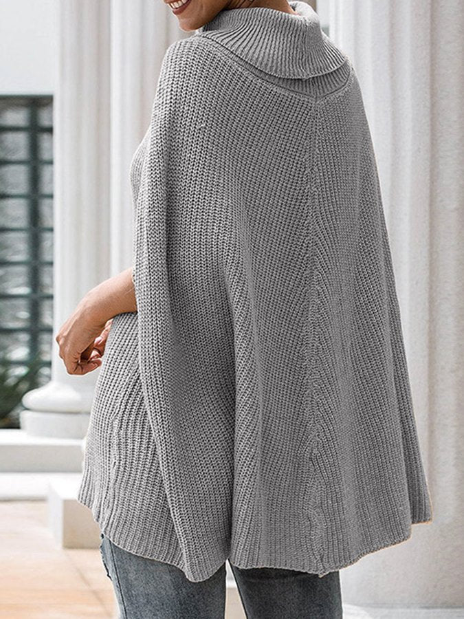 Knitted Turtleneck Shift Batwing Sweater Cape
