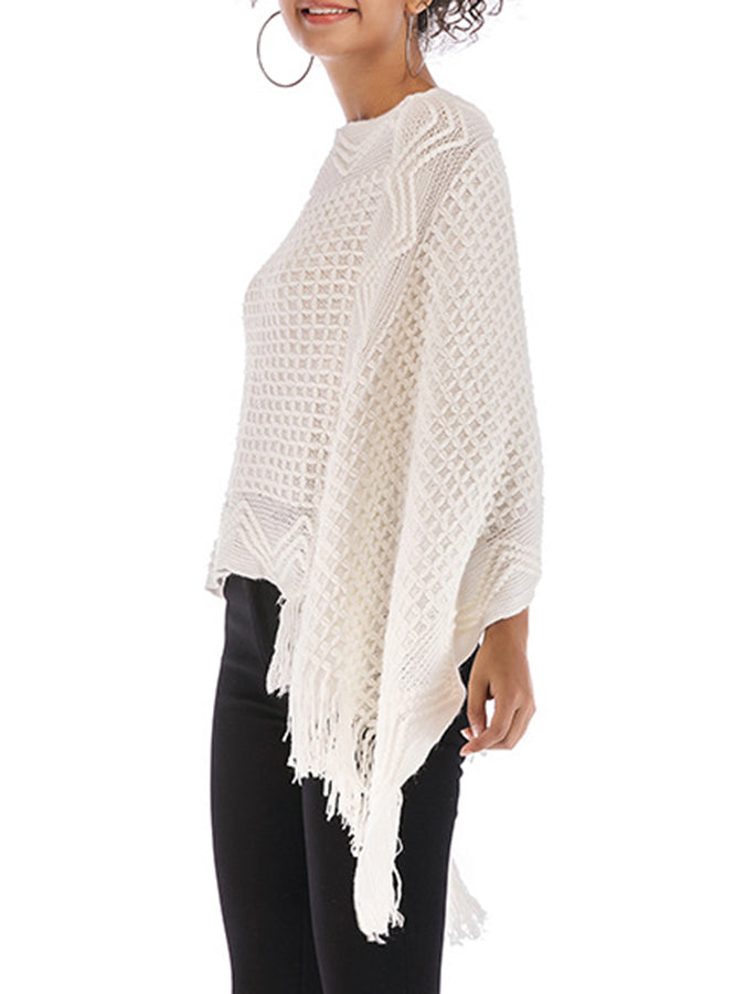 Batwing Statement Solid Sweater Cape