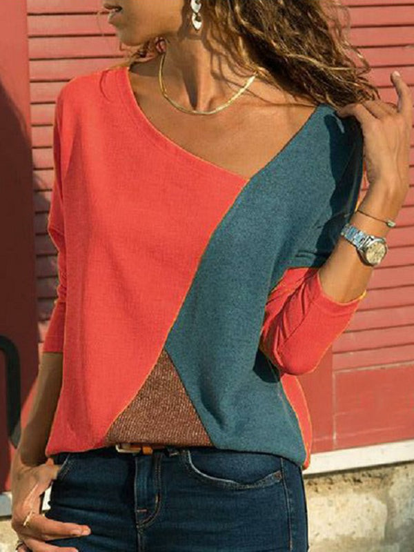 Long Sleeve Patchwork Shirts & Tops