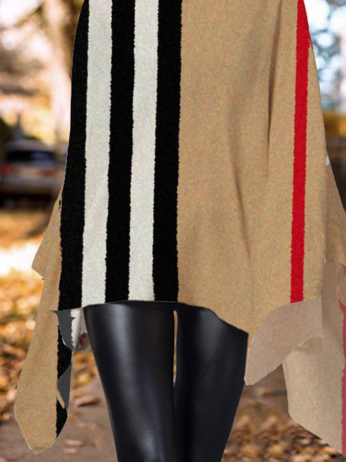 Striped Casual Turtleneck Printed Shirts & Tops