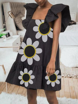 Black Floral Printed Frill Sleeve Holiday Dresses