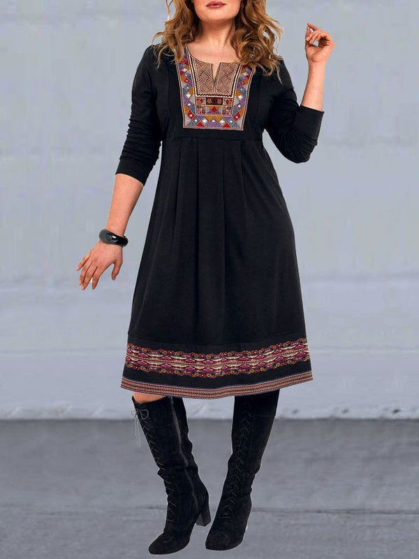 Black Crew Neck Casual Tribal Printed Dresses