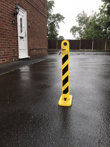 STANDARD VERSION - DIY, EASY FIT, 'LOCK and BLOCK' PARKING BOLLARD & ACCESS DETERRENT (no fixings or padlock) VAT included.