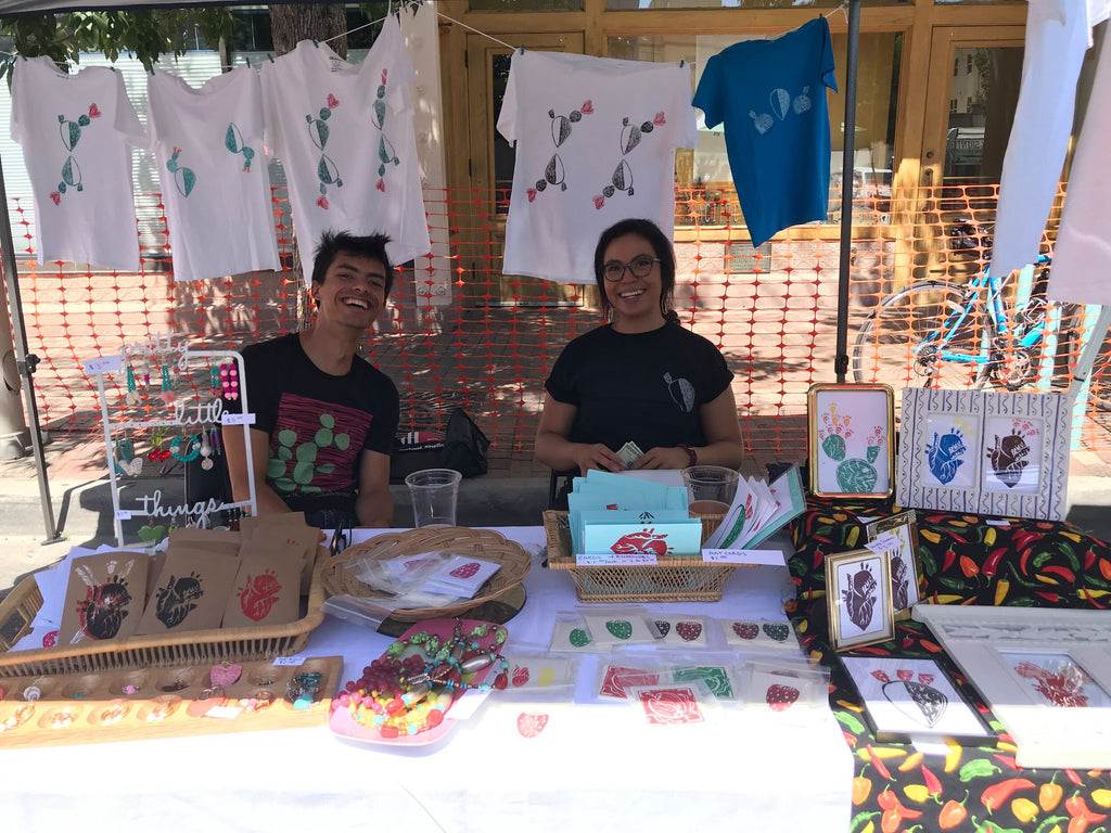 Art vendor Mary Ann Maestas and Festival Co-Coordinator Keegan Kloer