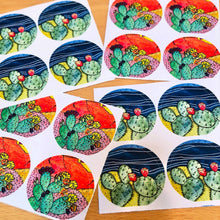 Load image into Gallery viewer, Night & Day Cactus - Sticker Set/Envelope Seals