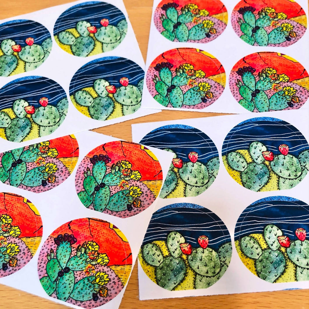Night & Day Cactus - Sticker Set/Envelope Seals