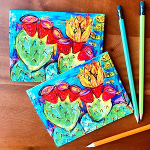 Prickly Pear Cactus - 2 card set
