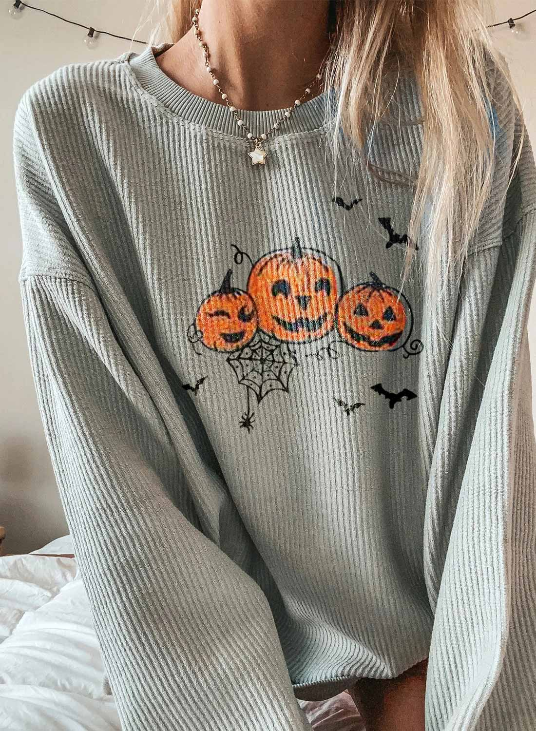 Solid Long Sleeve Round Neck Tunic Sweatshirt