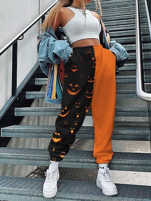 Halloween personalized print color-blocking loose trousers