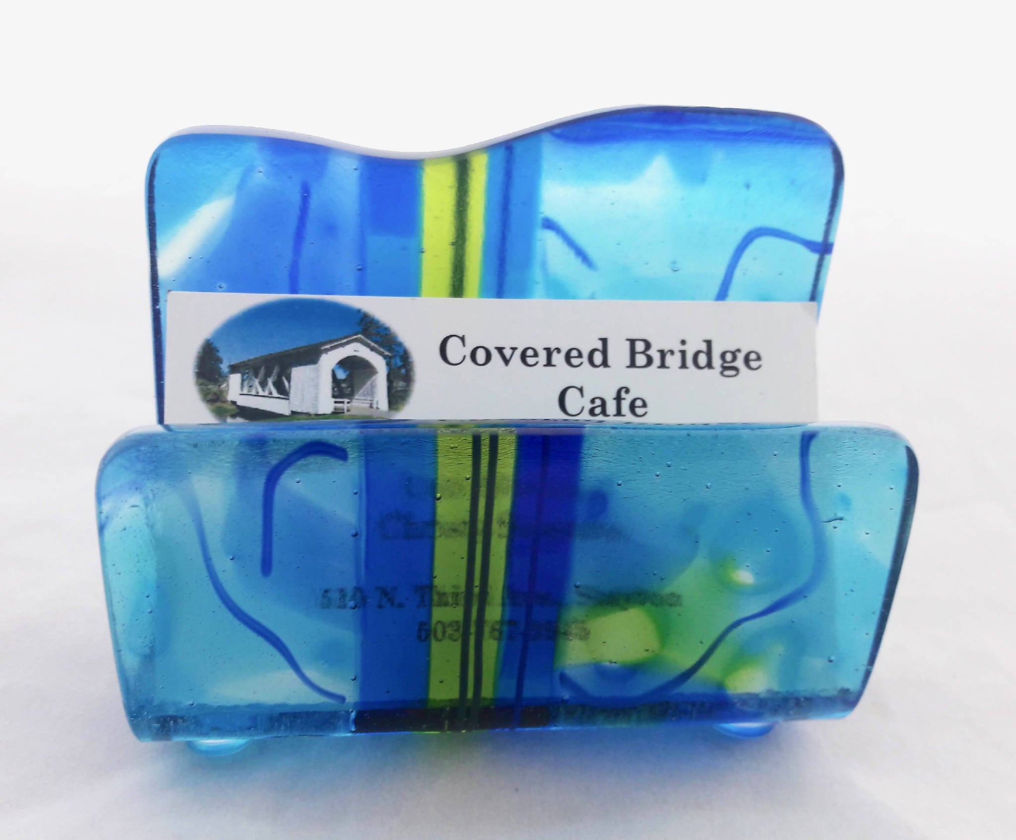 Smooth Sailing fused glass business card holder