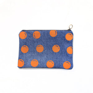 Open image in slideshow, Upcycled denim pouch: Orange dots