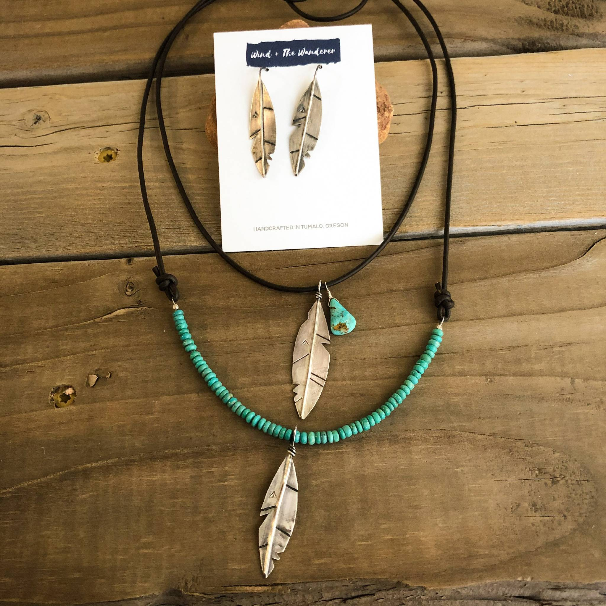 Dreamer Feather + Turquoise Necklace