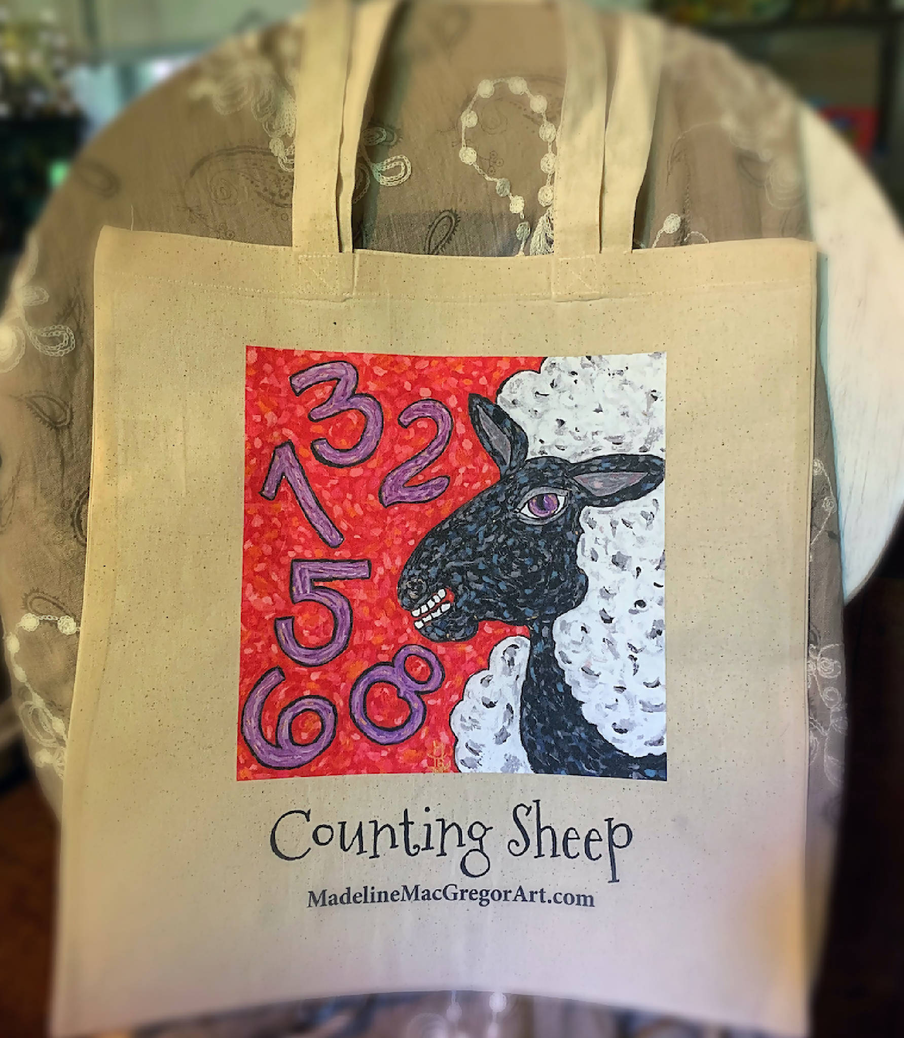 Counting Sheep Canvas Grocery Tote