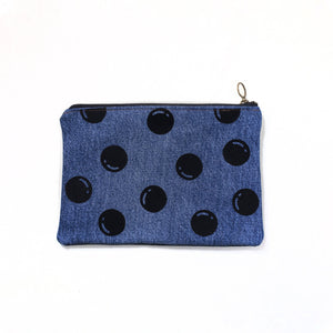 Open image in slideshow, Upcycled denim pouch: Black dots