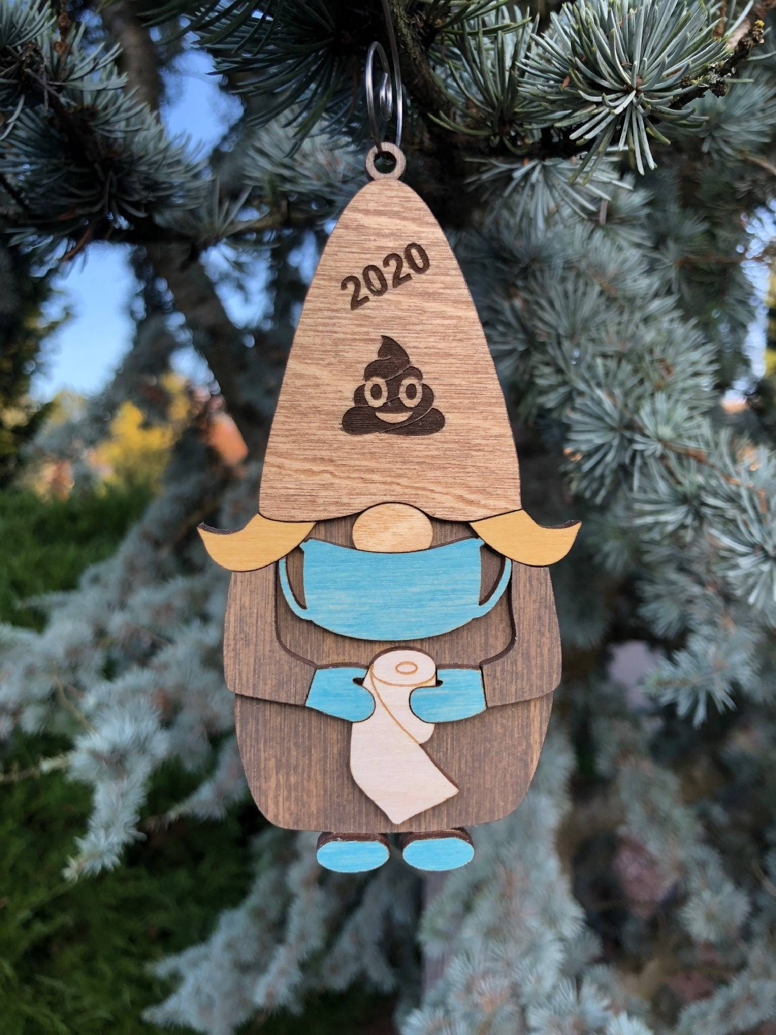 2020 Gnome with Toilet Paper 3D Wood Ornament
