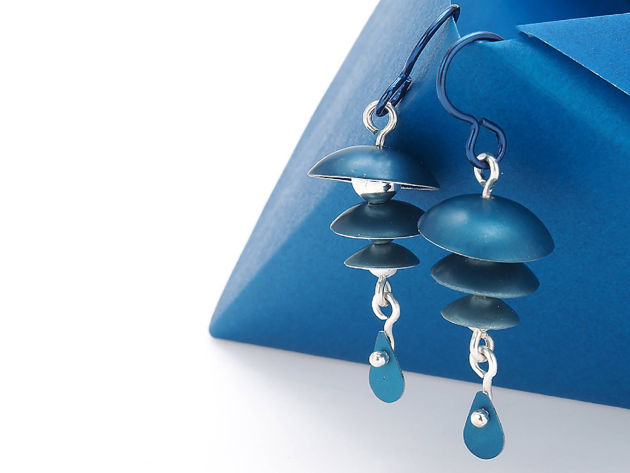 Blue and Silver, Drop Earrings