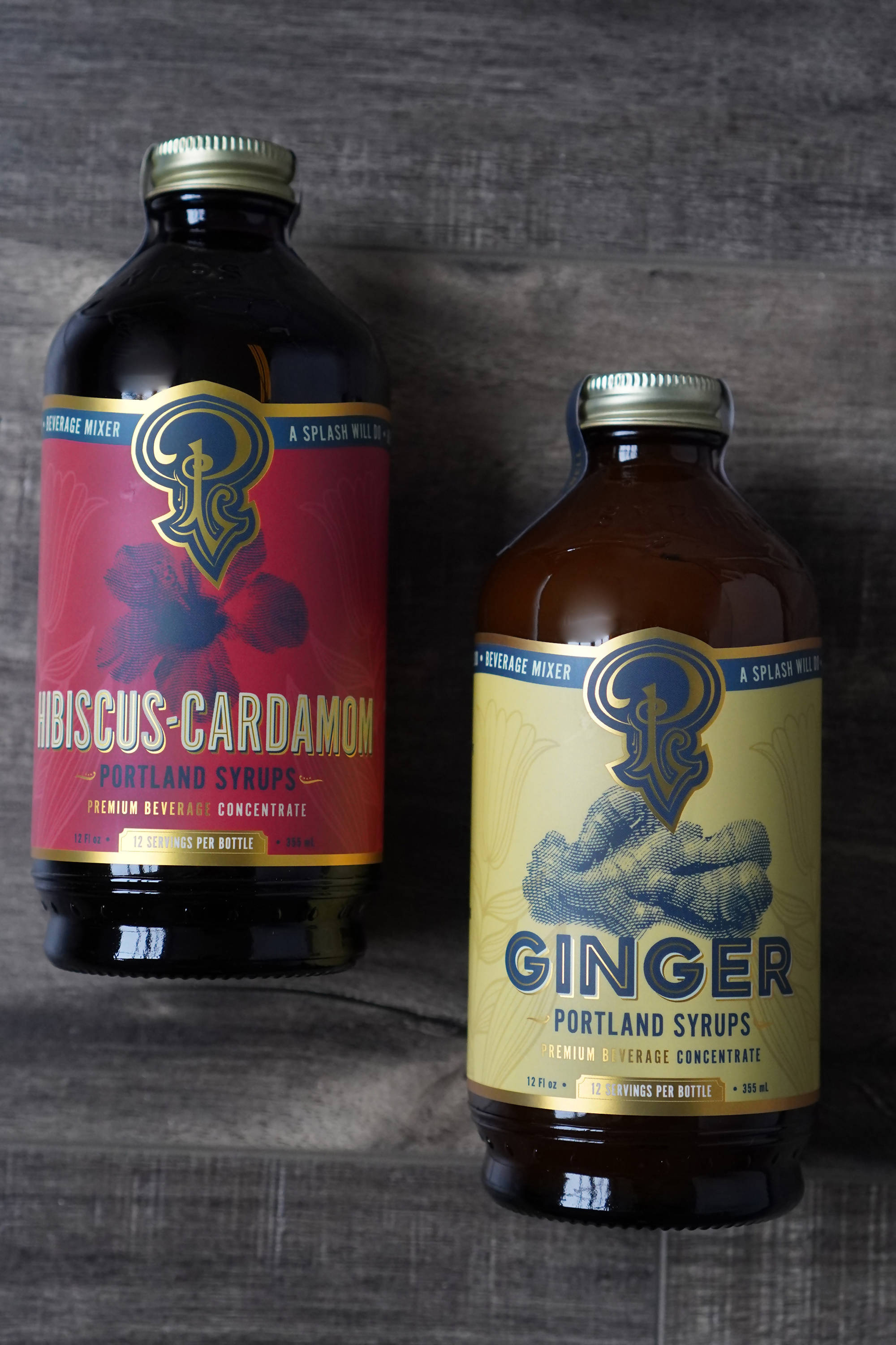 Ginger and Hibiscus-Cardamom Syrups